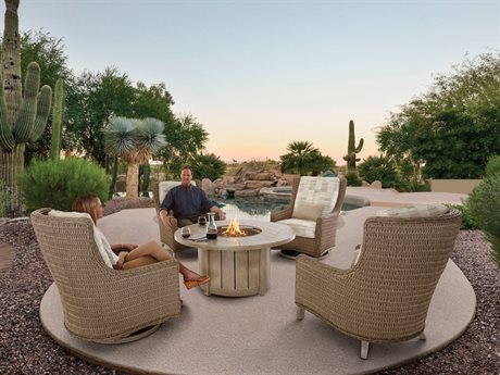 Ebel Geneva Wicker Fire Pit Lounge Set