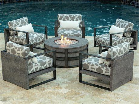 Ebel Lucca Cushion Aluminum Fire Pit Lounge Set PatioLiving