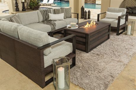 Ebel Lucca Aluminum Fire Pit Sectional Lounge Set