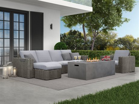 Mia Cushion Wicker Firepit Lounge Set