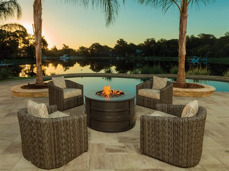 Ebel Orsay Wicker Fire Pit Lounge Set