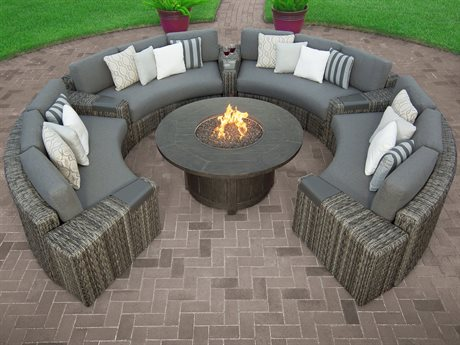 Ebel Orsay Wicker Fire Pit Sectional Lounge Set