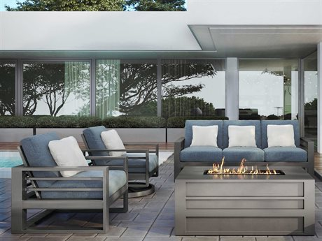 Ebel Palermo Cushion Aluminum Fire Pit Lounge Set