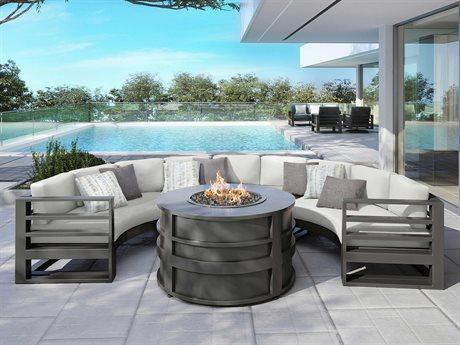 Ebel Palermo Cushion Aluminum Fire Pit Lounge Set