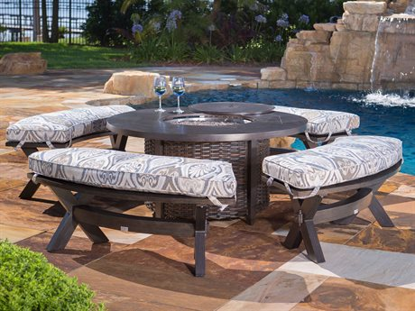 Ebel Portofino Aluminum Fire Pit Lounge Set