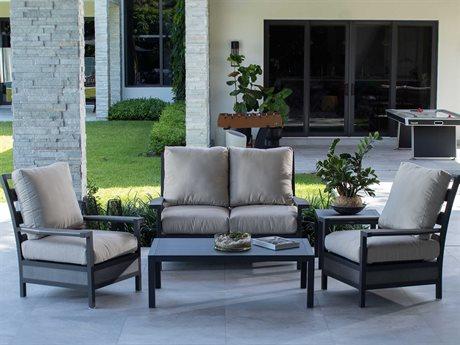Eddie Bauer Adventure Matte Charcoal/ Driftwood Aluminum Cushion Lounge Set