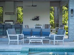 Echo Bay Satin White/ Light Grey Rope Aluminum Cushion Lounge Set