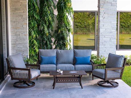 Eddie Bauer Echo Bay Dark Mahogany/ Tan Rope Aluminum Cushion Lounge Set