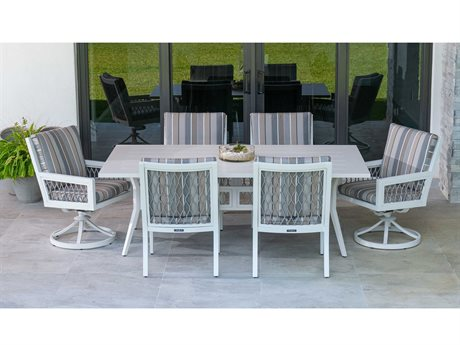 Eddie Bauer Echo Bay Satin White/ Light Grey Rope Aluminum Dining Set
