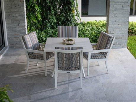 Eddie Bauer Echo Bay Satin White/ Light Grey Rope Aluminum Dining Set