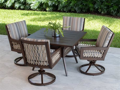 Eddie Bauer Echo Bay Dark Mahogany/ Tan Rope Aluminum Dining Set