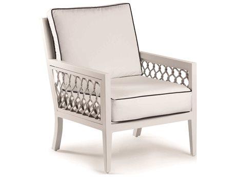Eddie Bauer Echo Bay Satin White/ Light Grey Rope Aluminum Cushion Lounge Chair
