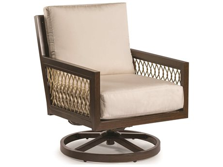 Eddie Bauer Echo Bay Dark Mahogany/ Tan Rope Aluminum Cushion Lounge Chair
