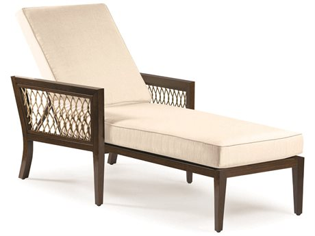 Eddie Bauer Echo Bay Dark Mahogany/ Tan Rope Aluminum Cushion Chaise Lounge