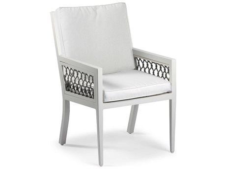 Eddie Bauer Echo Bay Satin White/ Light Grey Rope Aluminum Cushion Dining Chair