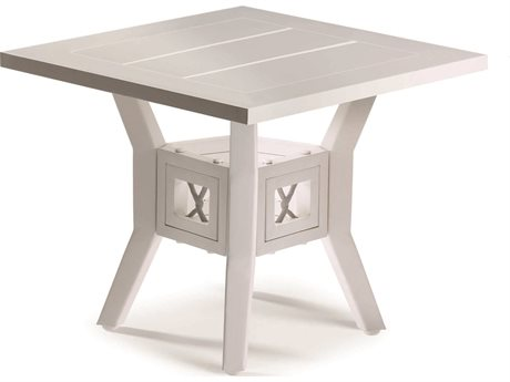 Eddie Bauer Echo Bay Satin White/ Light Grey Rope 22'' Wide Aluminum Square End Table
