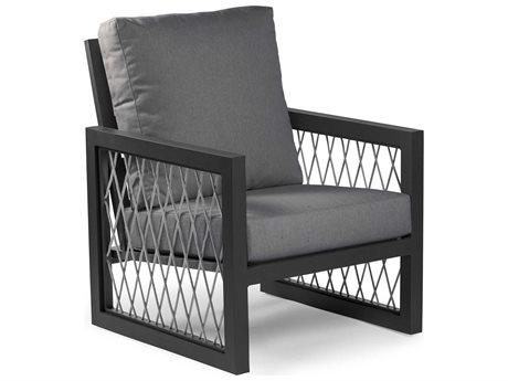 Eddie Bauer Explorer Matte Charcoal Light Grey Rope Aluminum Cushion Lounge Chair