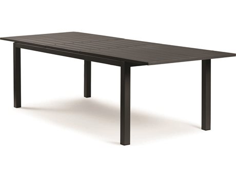 Eddie Bauer Explorer Matte Charcoal Light Grey Sling 84-110'' Wide Aluminum Rectangular Dining Table PatioLiving