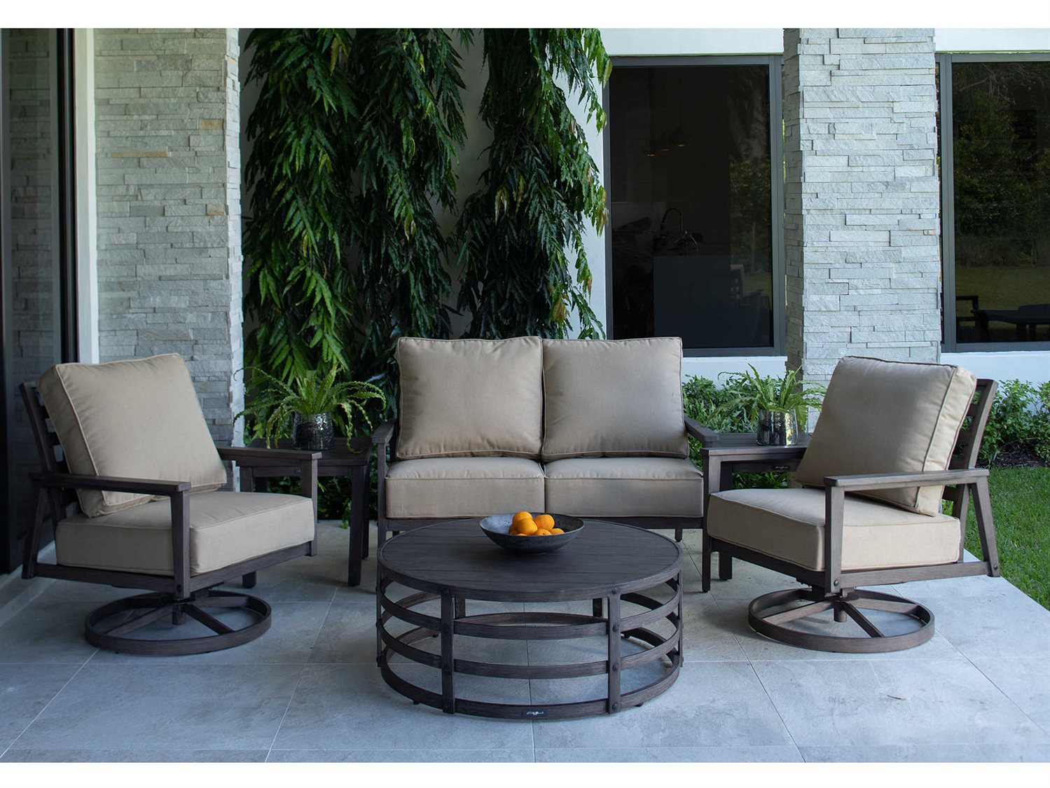 Eddie Bauer Horizon Faux Aged Teak Aluminum Cushion Lounge Set