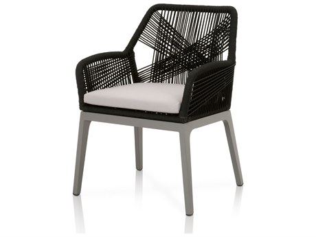 Essentials For Living Outdoor Woven Black Loom Dining Chair with Storm Grey cushion (Set of 2) PatioLiving