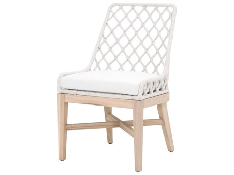 Essentials for Living Outdoor Woven White Speckle Flat Cushion Dining Chair PatioLiving