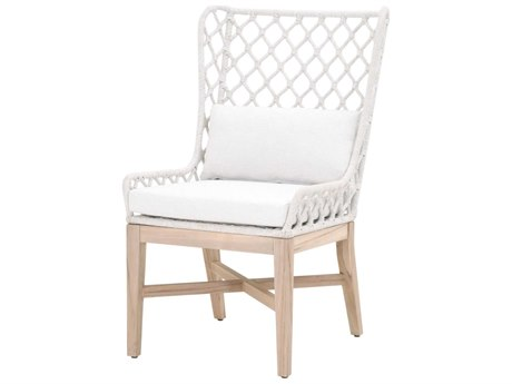 Essentials for Living Outdoor Woven White Speckle Flat Cushion Lounge Chair PatioLiving
