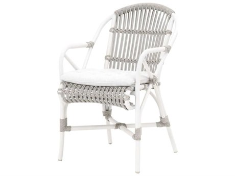 Essentials for Living Outdoor Woven Taupe & White Flat / White Speckle Cushion Dining Chair (Sold in 2) PatioLiving
