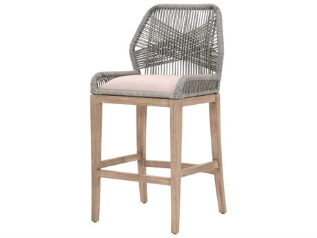 Essentials for Living Outdoor Woven Platinum Loom Bar Stool with Smoke Gray cushion