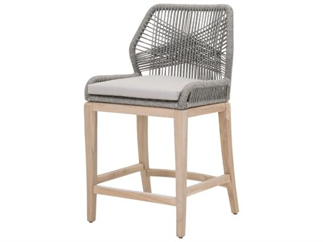 Essentials For Living Outdoor Woven Platinum Loom Counter Stool with Smoke Gray cushion PatioLiving