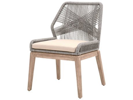 Essentials For Living Outdoor Woven Platinum Loom Dining Side Chair with Smoke Gray cushion PatioLiving