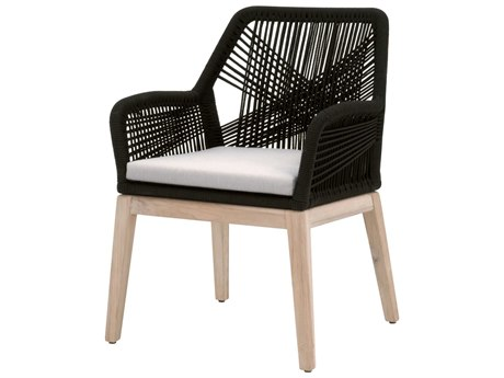 Essentials for Living Outdoor Woven Black / Pumice Cushion Dining Chair (Sold in 2) PatioLiving