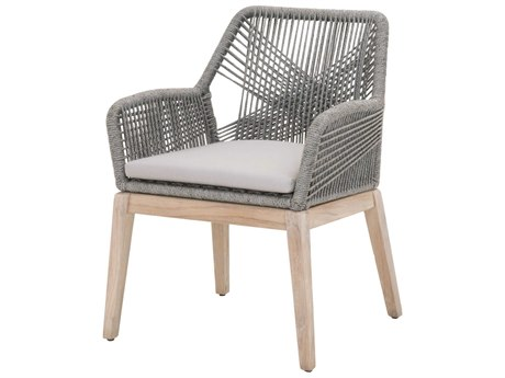 Essentials for Living Outdoor Woven Platinum / Smoke Gray Cushion Dining Chair (Sold in 2) PatioLiving