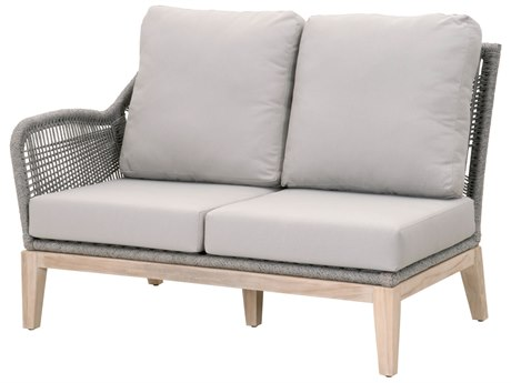 Essentials for Living Outdoor Woven Platinum Loom Left Arm Loveseat with Smoke Gray cushion