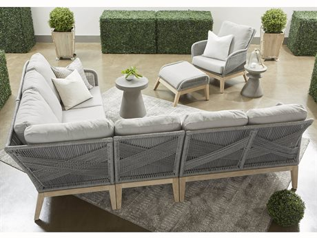 Essentials for Living Outdoor Woven Platinum Loom Sectional Lounge Set with Smoke Gray cushion