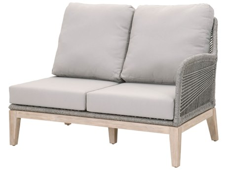 Essentials for Living Outdoor Woven Platinum Loom Right Arm Loveseat with Smoke Gray cushion