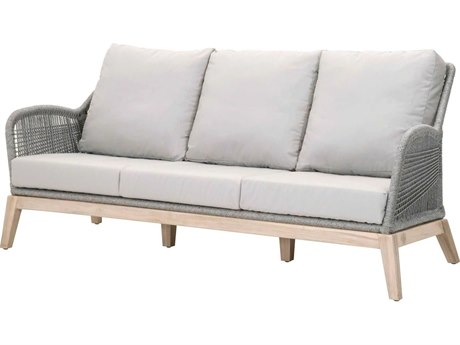 Essentials for Living Outdoor Woven Platinum Loom Sofa with Smoke Gray cushion PatioLiving