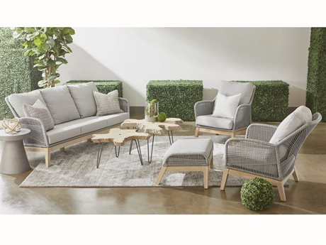 Essentials for Living Outdoor Woven Platinum Loom Lounge Set with Smoke Gray cushion PatioLiving