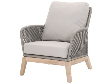 Essentials for Living Outdoor Woven Platinum Loom Lounge Chair with Smoke Gray cushion PatioLiving