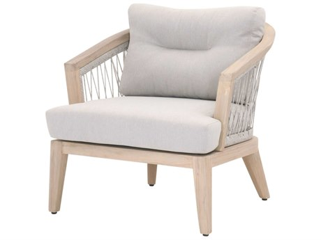 Essentials for Living Outdoor Woven Taupe / White Teak Lounge Chair with Pumice Cushion  PatioLiving
