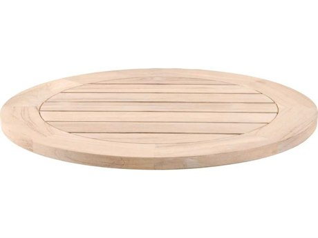 Essentials for Living Outdoor Woven Boca Teak Gray 26''Wide Round Lazy Susan PatioLiving