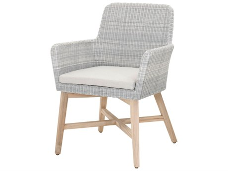 Essentials for Living Outdoor Woven Ice Blue Avila Dining Arm Chair with Pumice cushions PatioLiving