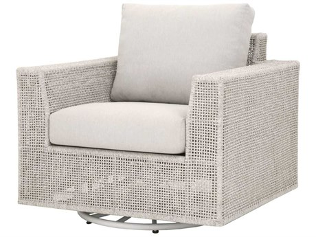Essentials for Living Outdoor Woven Taupe & White Flat / Pumice Aluminum Cushion Swivel Rocker Lounge Chair PatioLiving