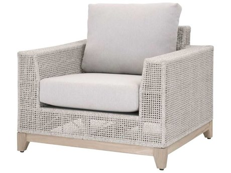 Essentials for Living Outdoor Woven Taupe & White Flat / Pumice Cushion Lounge Chair PatioLiving