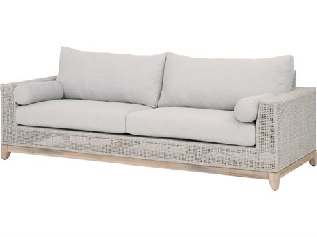 Essentials for Living Outdoor Woven Taupe / White Teak Sofa with Pumice Cushion PatioLiving