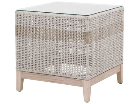 Essentials for Living Outdoor Woven 22'' Wide Teak Wicker Square End Table PatioLiving