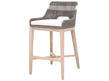Essentials for Living Outdoor Woven Dove / White Teak Cushion Bar Stool PatioLiving