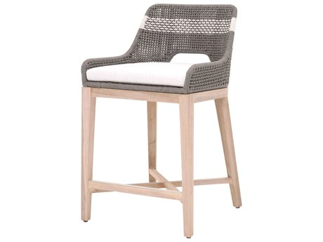 Essentials for Living Outdoor Woven Dove / White Teak Cushion Counter Stool PatioLiving