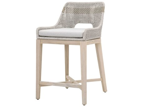 Essentials for Living Outdoor Woven White Taupe Tapestry Counter Stool with Pumice cushion PatioLiving
