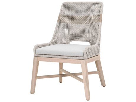 Essentials for Living Outdoor Woven White Taupe Tapestry Dining Side Chair with Pumice cushion PatioLiving