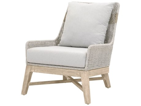 Essentials for Living Outdoor Woven White Taupe Tapestry Lounge Chair with Pumice cushion PatioLiving